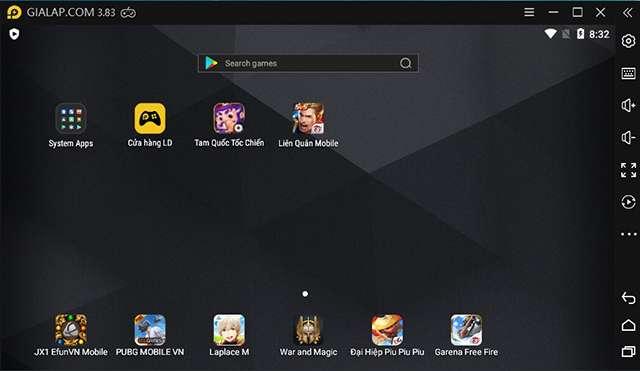 Giao diện màn hình chính giả lập Android LDPlayer